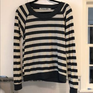 Grey and White Striped Michael Stars Long Sleeve